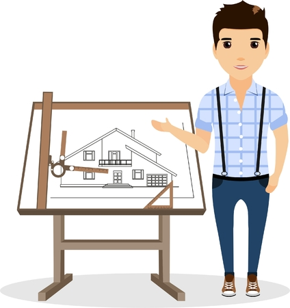 specifies: The architect specifies the drawing hand. Architect drawing table near. Illustration