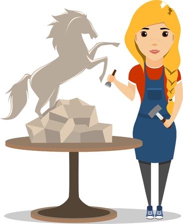 carving: Girl sculptor at work. Sculpture of a wild horse. Girl with a chisel and hammer in his hands. Illustration