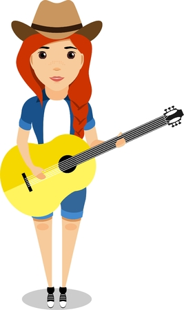Young red-haired girl in cowboy hat and an acoustic guitar in a flat style Illustration