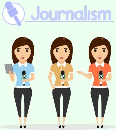 Journalism. Woman journalist with a microphone in his hand. Vector Illustration