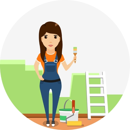 painted wall: Girl builder with a brush in his hand on the background of painted wall in a flat style Illustration
