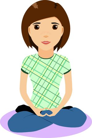 lotus position: Girl in the lotus position with hands clasped together
