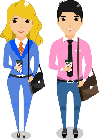 brunet: Girl and boy office workers with business portfolios drinking coffee from cups