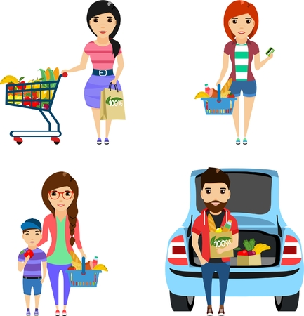 Set of illustrations. Young people are shopping in a supermarket. Eco friendly products. Isolated on white background. Happy people. Illustration