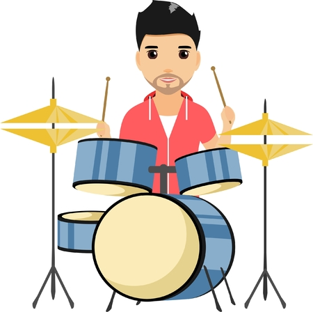 Concert of young boy playing the drum set. Happy guy. Cartoon illustration. Isolated on a white background.