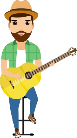 The concept of guy sitting on a chair and playing the electric guitar. Happy guy. Cartoon  illustration. Isolated on a white background.