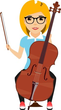 The concept of a young girl playing the cello. Cartoon illustration. Isolated on a white background.