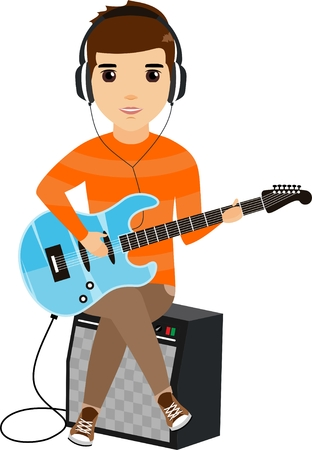 The concept of a young man playing the electric guitar sitting on the amplifier. Happy guy. Cartoon illustration. Isolated on a white background. Illustration