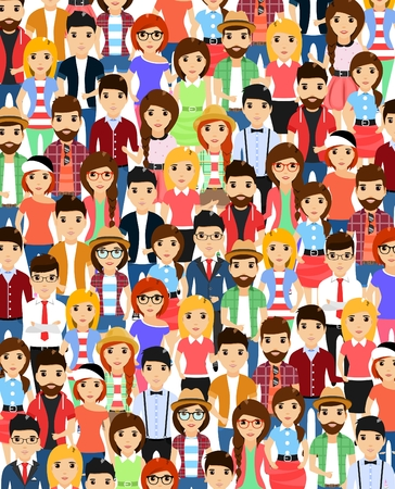 overcrowded: Set of people standing together. Cartoon illustration. Isolated on a white background.