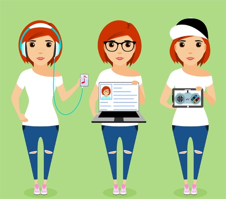 young girl: Young girl in headphones. Young girl with a laptop. A young girl listens to music. Illustration