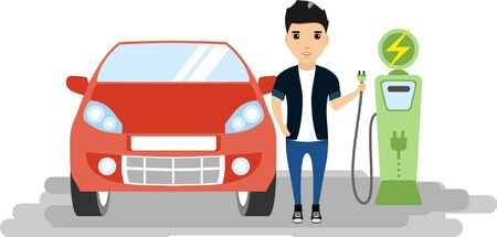 subcompact: Young man standing near the car. Electric cars. Gas station. Ecology.