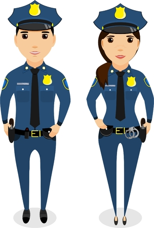 A girl and a guy cop. In the flat style
