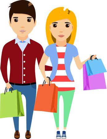 Family buying, cartoon illustration. Young girl and the guy in the store shopping. Isolated on a white background. Happy couple.
