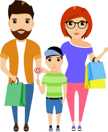 Happy young family is shopping. Stylish people., Cartoon illustration. Isolated on a white background. Mom Dad and son on a walk.