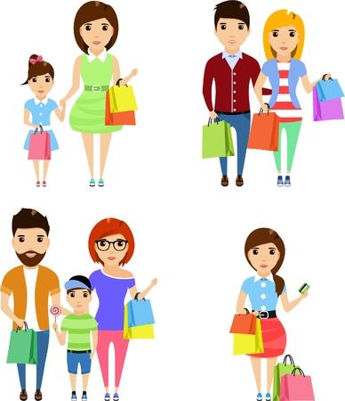 Conjunto de ilustraciones. Los jóvenes hacen una compra en la excursión. Aislado en un fondo blanco. Gente feliz. Vectores