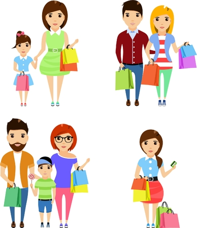 Set of illustrations. Young people make a purchase on the outing. Isolated on a white background. Happy people.