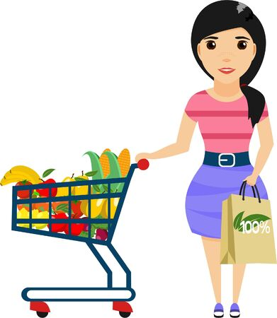 The girl in a dress, engaged in shopping in a supermarket. Eco friendly products. Vegetarianism. Cartoon illustration. Isolated on a white background. Happy girl. Illustration