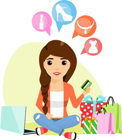 A young woman of European origin involved in the purchase of goods via the Internet. In the flat style. Happy girl.