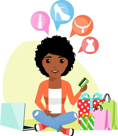 A young girl of African descent engaged in buying products through the Internet. In the flat style. Happy girl. Illustration