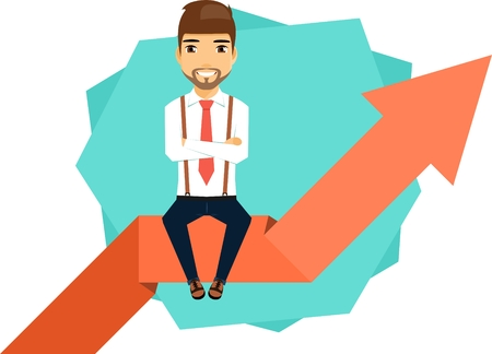 Young businessman concept confident progress. Young businessman sitting on the arrow. Happy guy.
