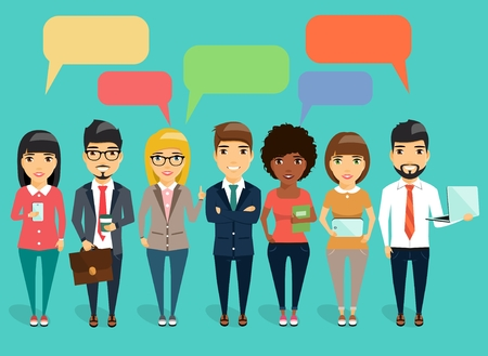 The concept of a young business communication. Young business team led by a boss. Speech bubbles. Happy group of people Illustration
