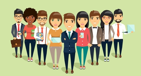 sales executive: The concept of a young business team headed by the leader. Business office people. Happy people Illustration