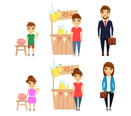 Set, profession businessman. Little girl and boy dream of becoming businessmen. Man and woman are professional businessmen. In flat style on white background. Cartoon.