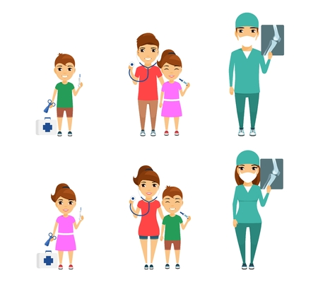 Set, profession surgeon. Little girl and boy dream of becoming surgeons. Man and woman are professional surgeons. In flat style on white background. Cartoon. Illustration
