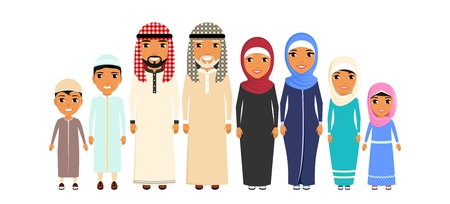 Large family of ethnic Arabs. All family members are standing next to each other. In flat style on white background. Cartoon. Illustration