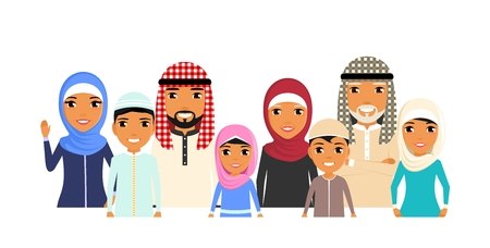 Large family of ethnic Arabs. Portrait style. Grandmother, grandfather, mother, father, brothers and sisters. Different generations. In flat style on white background. Cartoon.