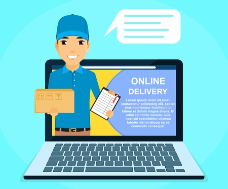 Online delivery service. A young guy, a courier holding a box in his hand. Online application. Online service. Flat style on blue background. Cartoon.