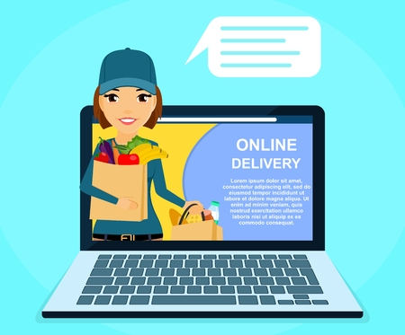 Online food delivery service. Young girl courier holding bags of food in his hand. Online application. Online service. Flat style on blue background. Cartoon.