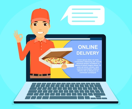 Online pizza delivery service. A young guy, a courier holding a box of pizza in his hand. Online application. Online service. Flat style on blue background. Cartoon. Illustration