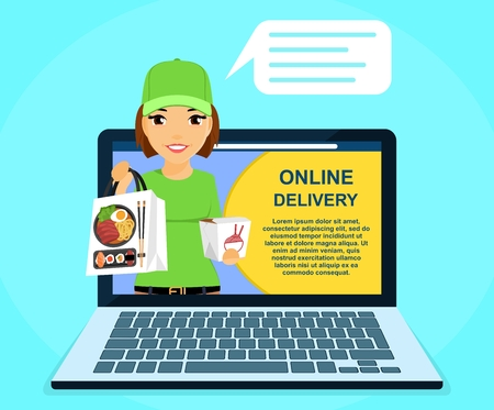Online sushi delivery service. Young courier girl holding sushi in her hand. Online application. Online service. Flat style on blue background. Cartoon. Illustration