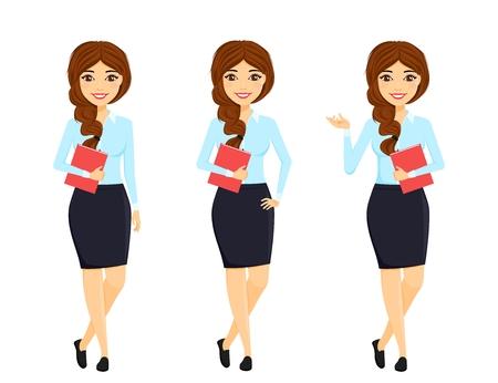 Set, schönes Mädchen in einem Business-Anzug und in verschiedenen Posen. Büroarbeit. Charakter. Geschäft und Finanzen. Flacher Stil auf weißem Hintergrund. Karikatur.