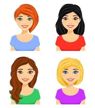 Reihe von Porträts junger Mädchen mit verschiedenen Frisuren. Andere Haarfarbe. Flacher Stil auf weißem Hintergrund. Karikatur.