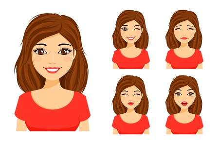 Set of emotions. Young cute girl shows different emotions. Flirting, kissing, sad, surprised, winking. Flat style on white background. Cartoon