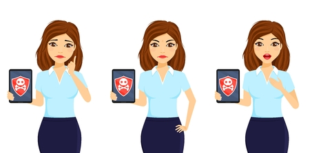 Virus protection. A girl with a tablet in her hand. Vulnerability to viruses and malware. Business and Finance. Flat style on white background. Cartoon. 版權商用圖片 - 123617547