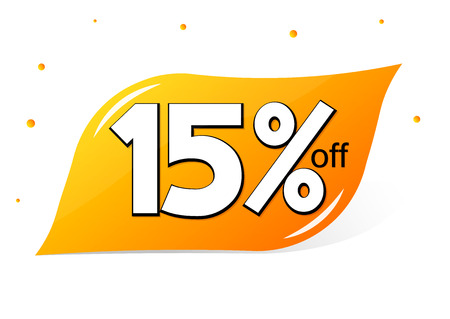 Sale 15% off, discount banner design template, promo tag, vector illustration