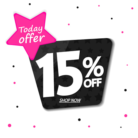 Sale 15% off, discount banner design template, today offer, promo tag, vector illustration 向量圖像