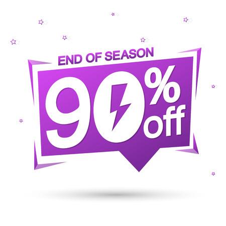 Flash Sale, 90% off, speech bubble banner Ilustração