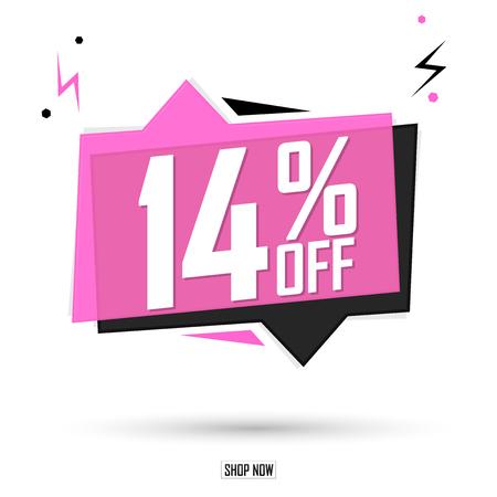Sale 14% off tag, speech bubble banner design template, discount tag, app icon, vector illustration Ilustração