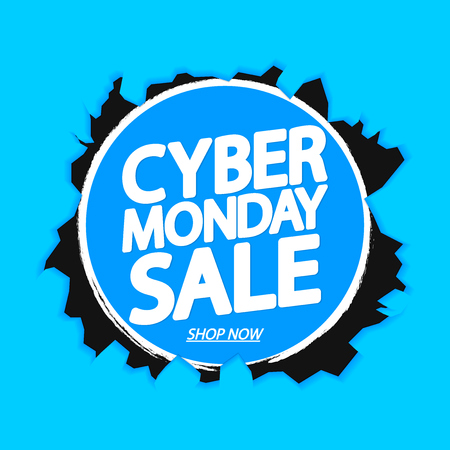Cyber Monday Sale, poster design template, special offer, vector illustration Иллюстрация