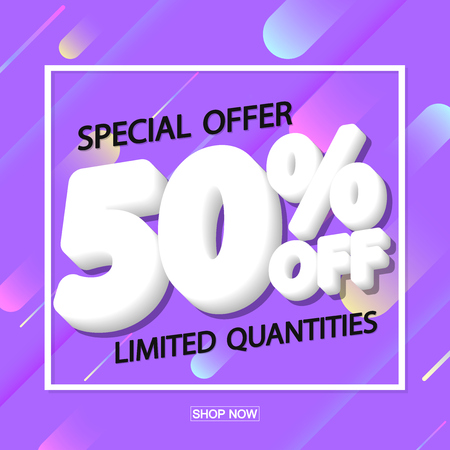 Sale 50% off, poster design template, special offer, vector illustration