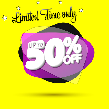 Sale up to 50% off, bubble banner design template, discount tag, limited time only, vip offer, app icon, vector illustration