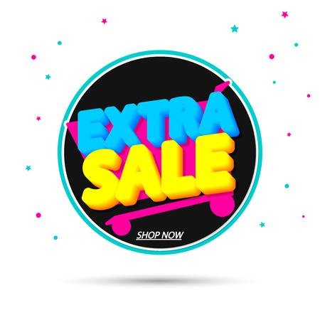 Extra Sale, promotion banner design template, discount tag, vector illustration Ilustração