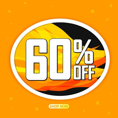 Hot Sale 60% off, app icon, vector illustration