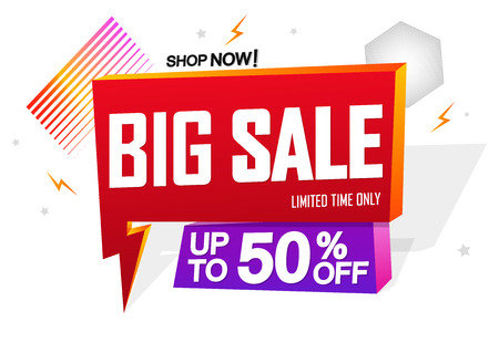 Big Sale, speech bubble banner design template, up to 50% off, flash discount tag, vector illustration Ilustração