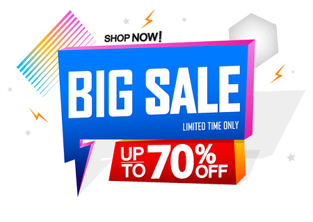 Up to 70% off, flash discount tag, vector illustration