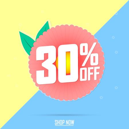 Spring Sale 30% off, discount banner design template, promo tag, vector illustration